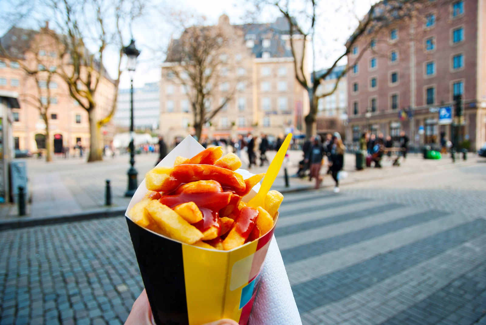 Frites - popular street food in Belgium.