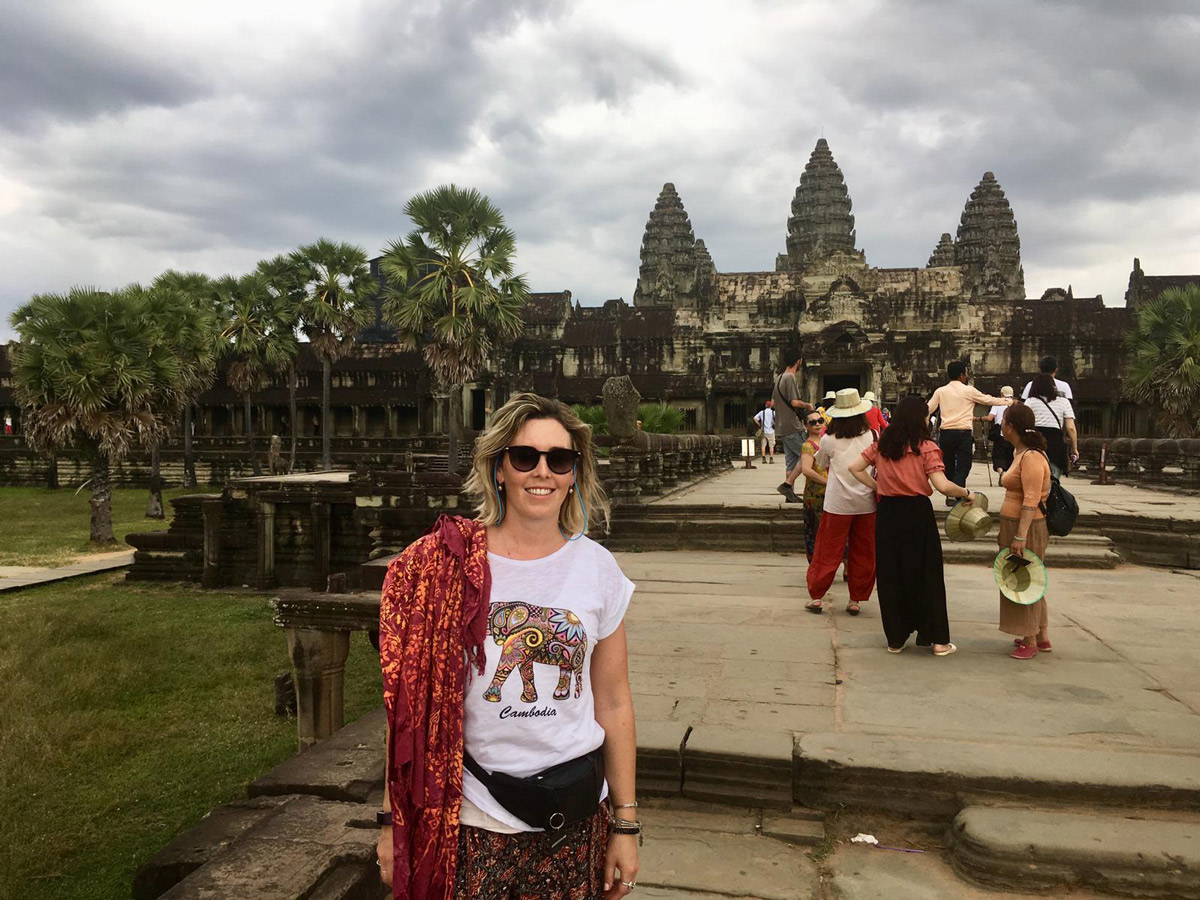 Jaclyn in front of Angkor Wat Temple Complex