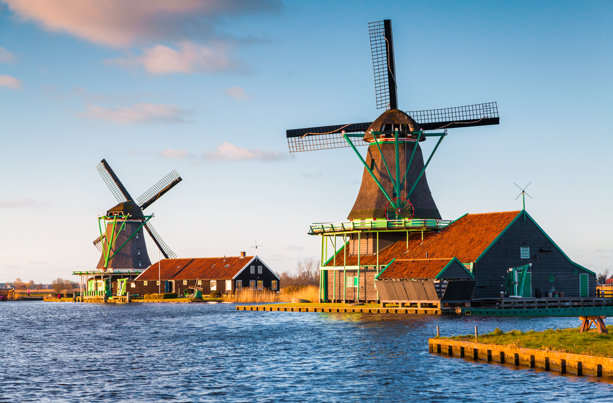 Windmills in Zaanse Schans near Amsterdam.