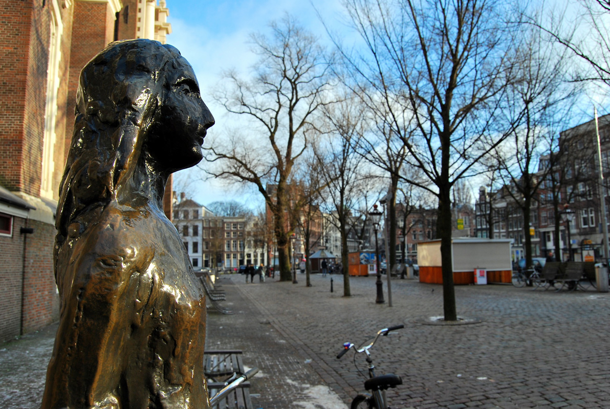 Statue of Anne Frank in Amsterdam.
