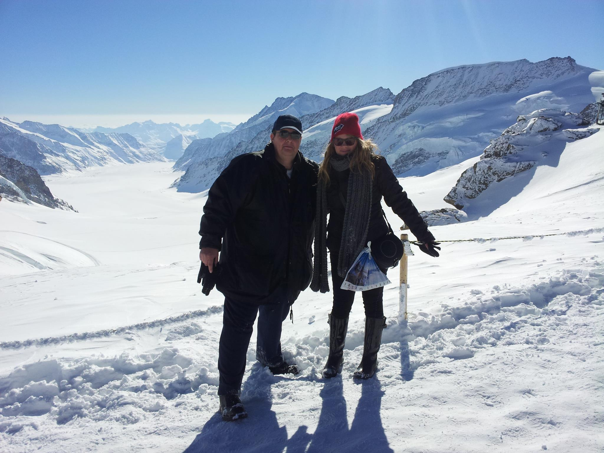 Sarah and driver Gary on top of the highest peak in Europe- Jungfraujoch.
