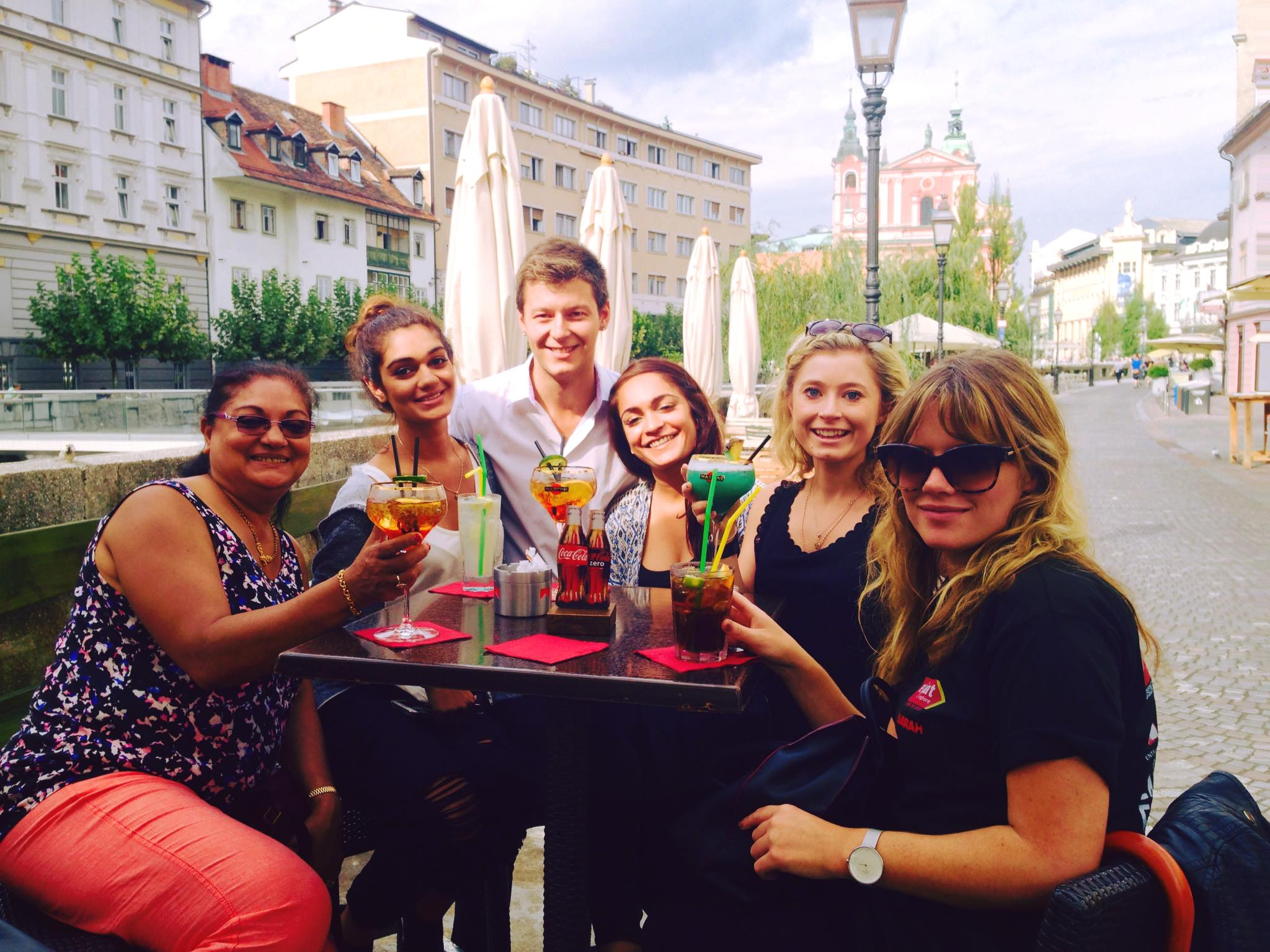 Having a drink in Ljubljana, Slovenia.