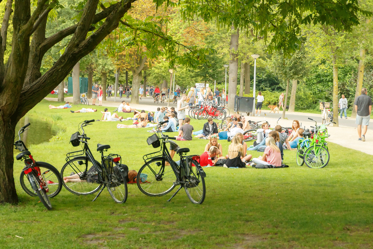 "Enjoying fresh air in Amsterdam's ""Central Park""."