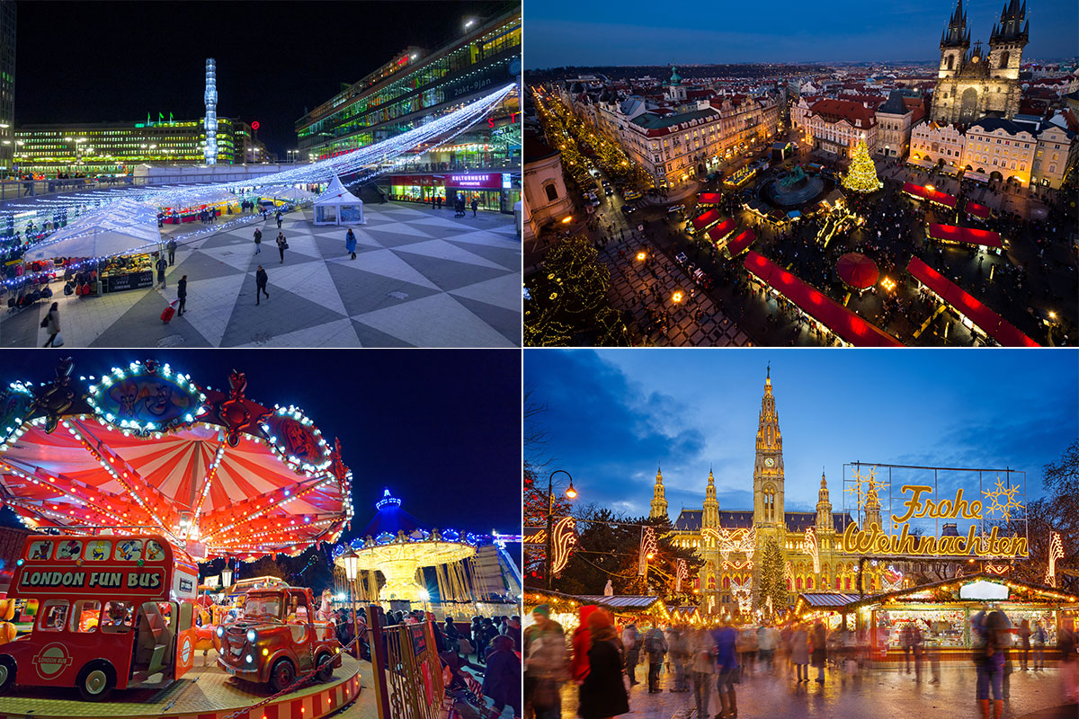 Stockholm, Sweden (top left) Prague, Czech Republic (top right ); Winter Wonderland in Hyde Park, London (bottom left), Vienna's magnificent Christmas Village at Maria-Theresien Platz (bottom right)