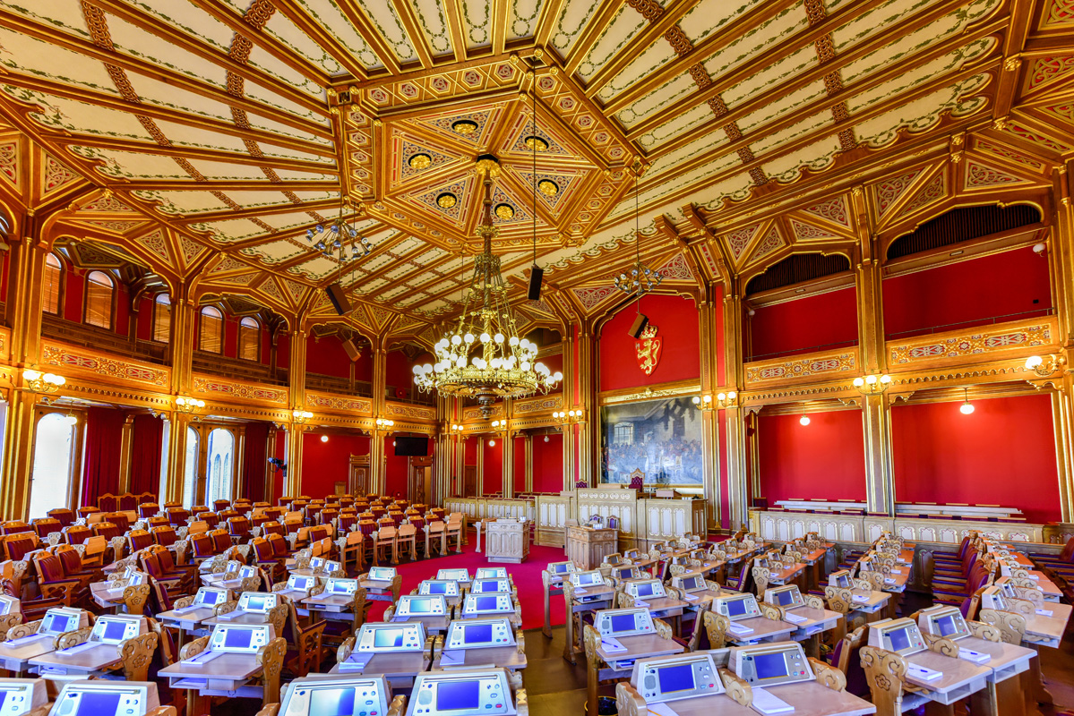 Inside of the Parliament building in Norway.