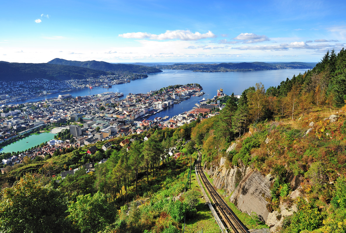 Bergen from Mount Floyen in Norway.