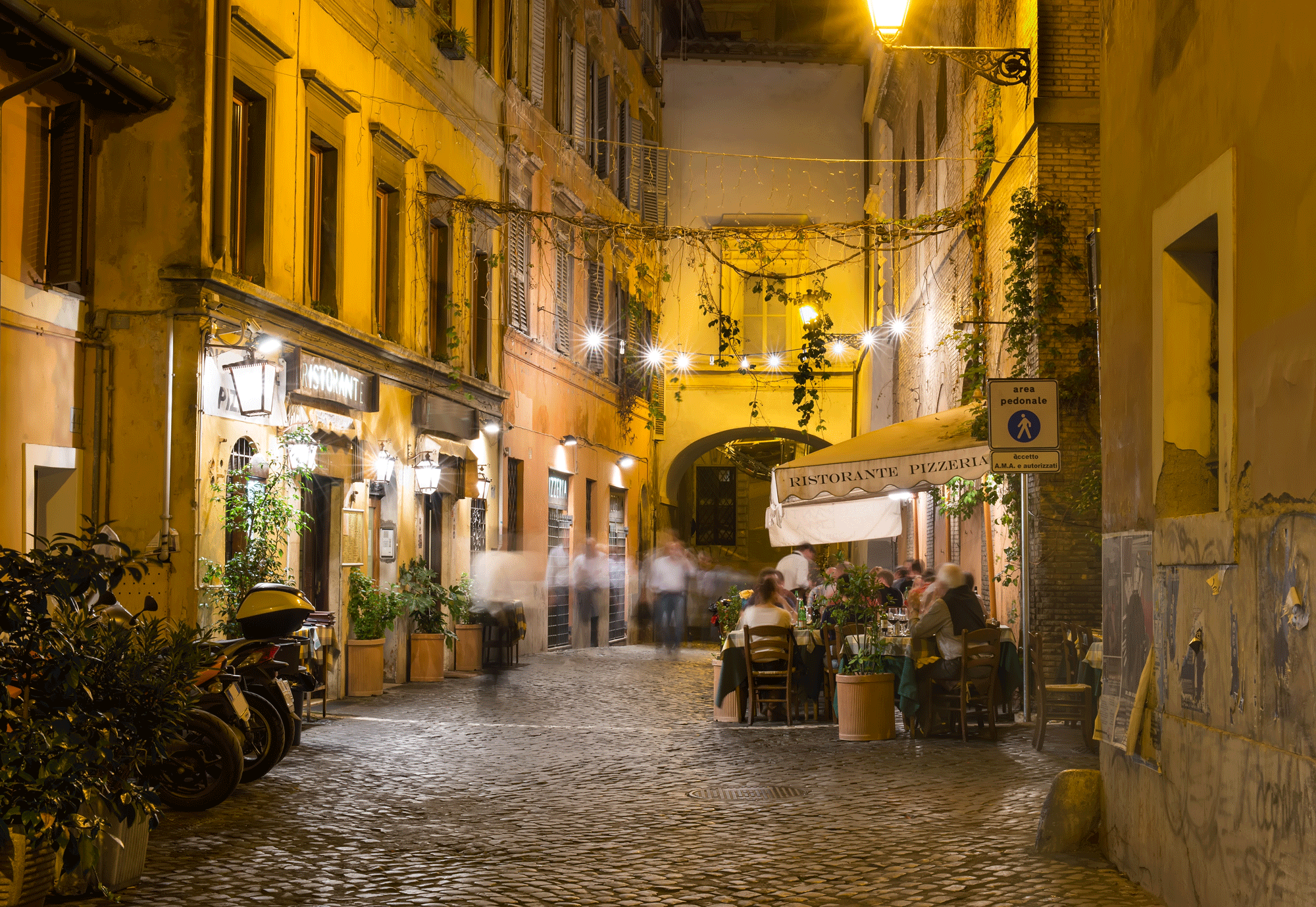 Old street in Trastevere in Rome, Italy.