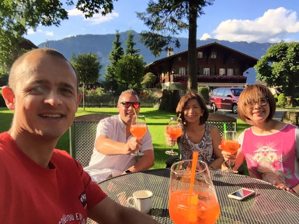 Carl and Ryan with traveller friends at the Alpenrose Hotel & Gardens in Wilderswil.