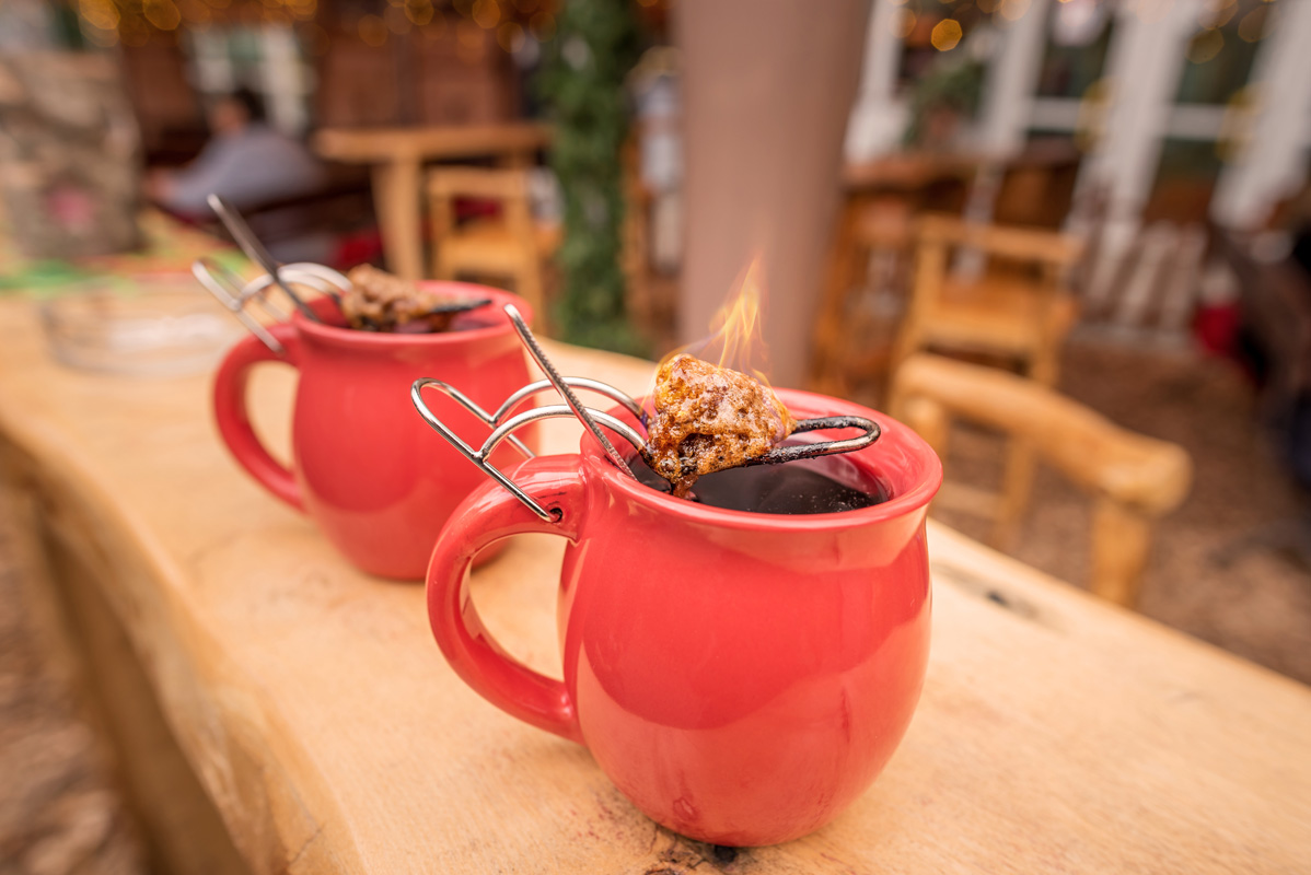 Feuerzangentasse, German mulled wine served with a flaming cone of sugar!