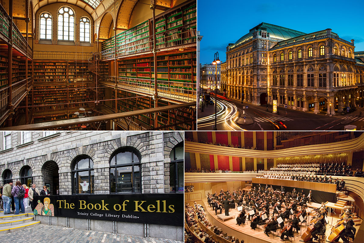 Old Library of the Rijksmuseum in Amsterdam (bottom left); The Shakespeare's Globe in London (top right); The Book of Kells Exhibition at Trinity College in Dublin (bottom left); Kobayashi Ken-Ichiro and IKEDA Riyoko collaboration concert in Budapest (bottom right)