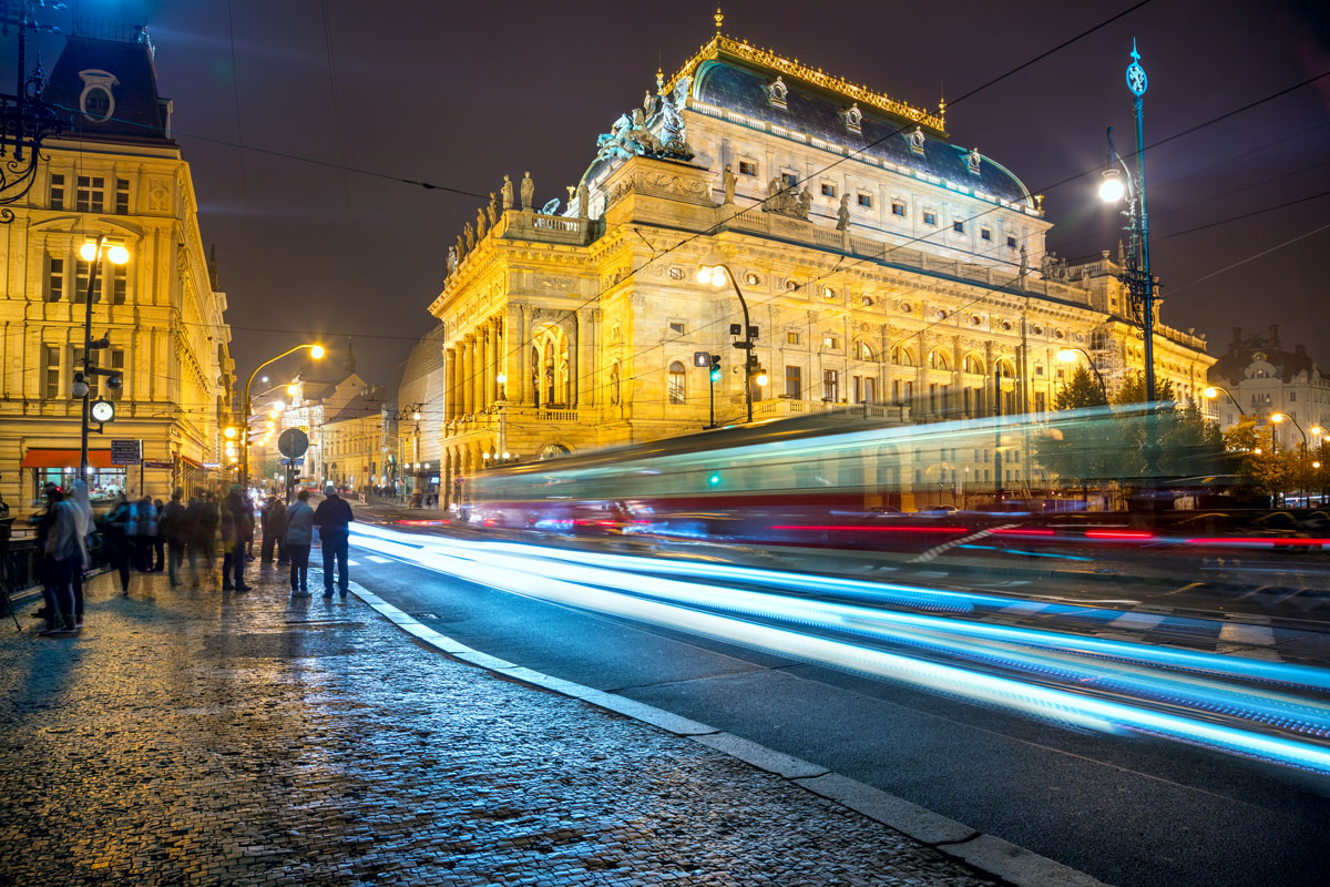 Evening view of the National Theater in Prague, Czech Republic.