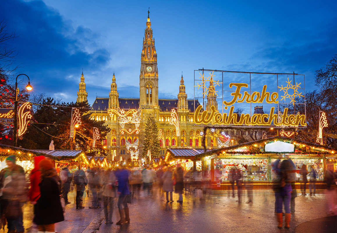 Magical Christmas market in Vienna, Austria.