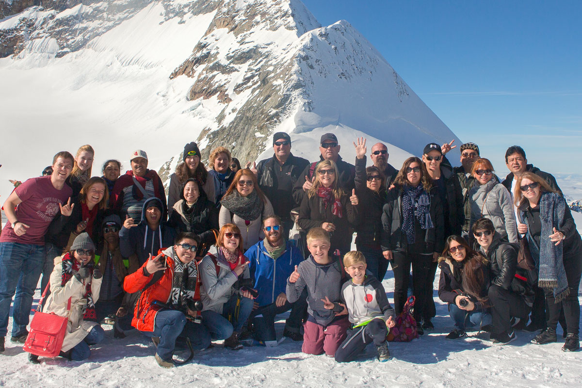 One of our group tours enjoying their time in the Swiss Alps