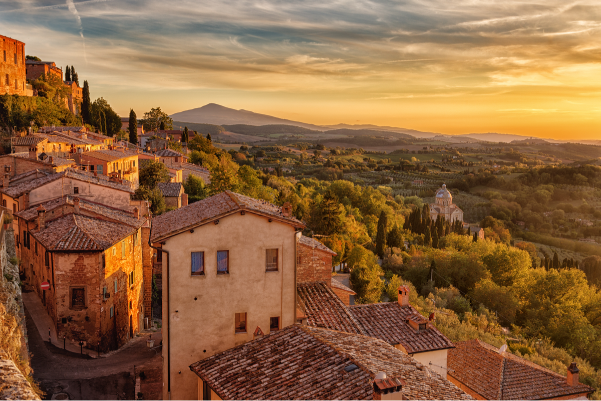 View of Tuscany landscapes from town of Montepulciano Italy