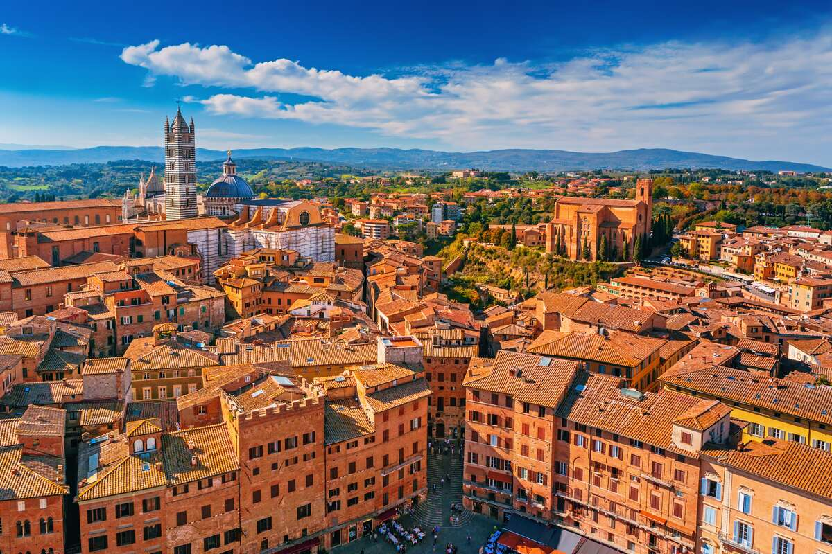 View of town of Siena in Italy