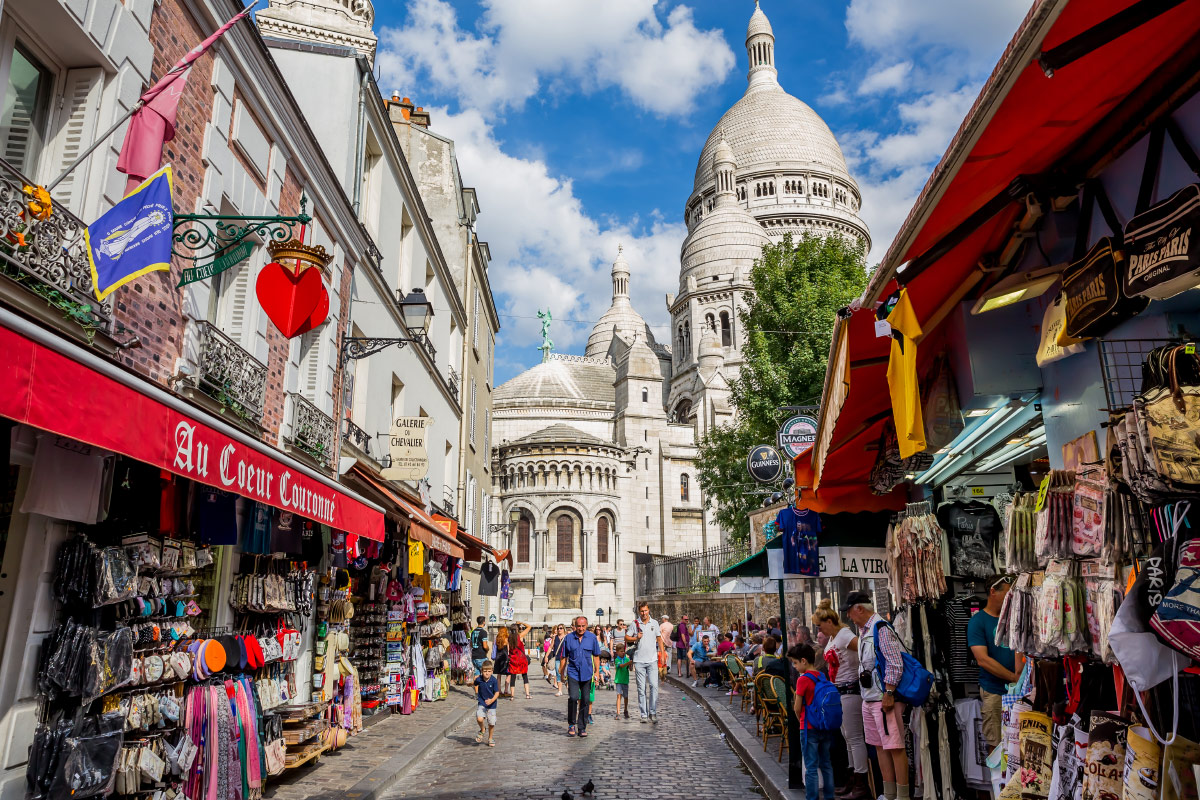 View of Paris street and Sacre Couer France