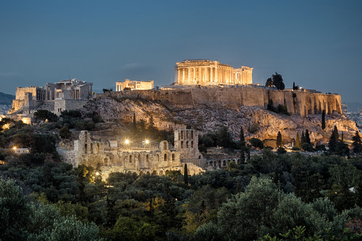 Famous Acropolis Hill, main landmark of Athens