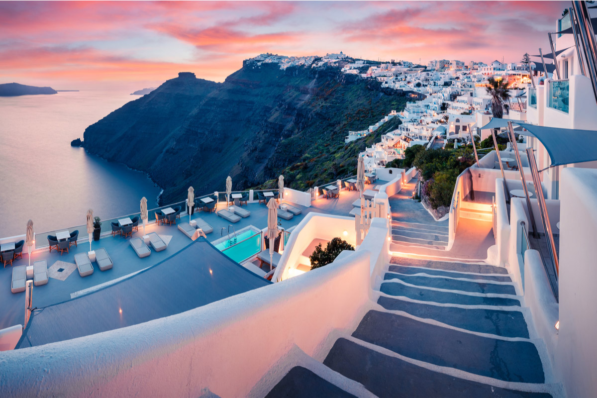 Great evening view of Santorini island
