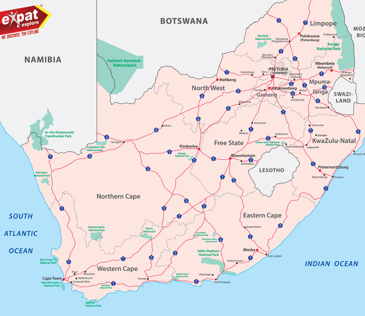 Map Of South Africa Showing 9 Provinces.A Quick Guide To South Africa Expat Explore Travel