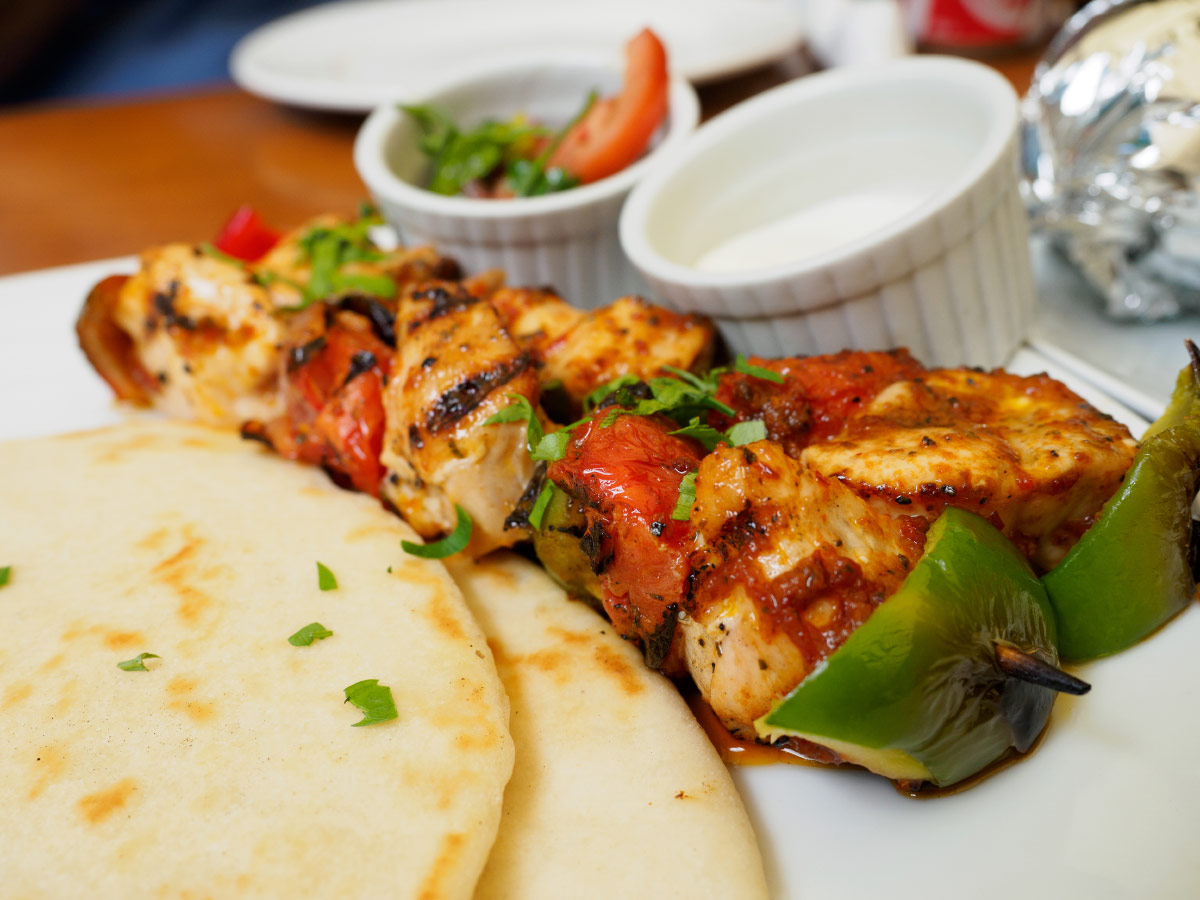 Chicken souvlaki and pita bread food bucket list