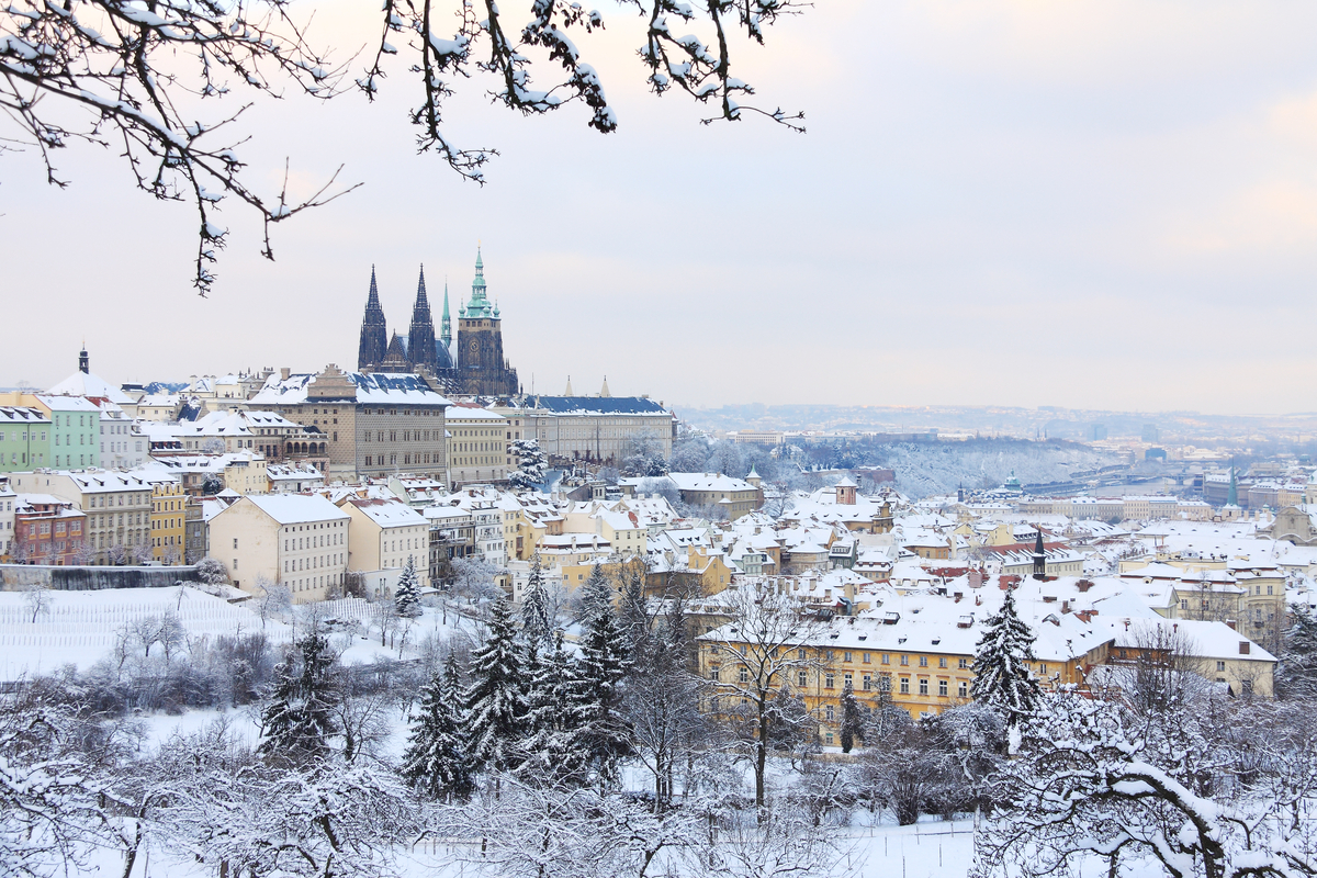 Prague landscape with snow winter holiday Europe