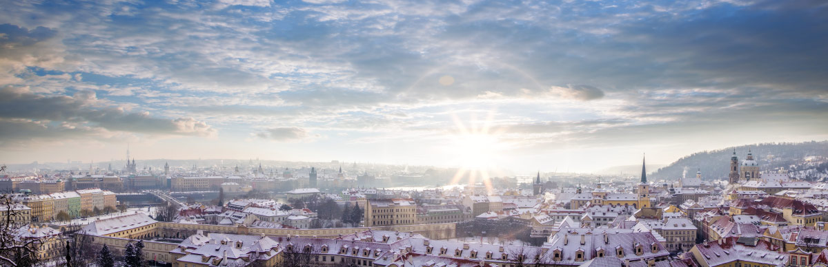 Beautiful view of famous Prague during winter time in Czech Republic