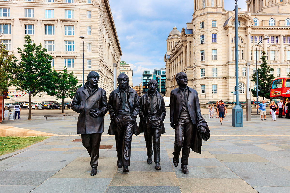 Less people around popular landmarks such as the Beatles statue