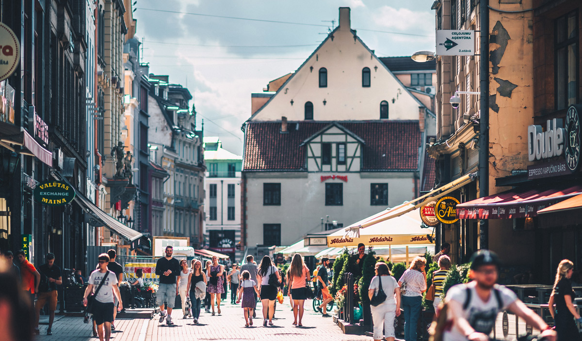 Busy street in the city centre of Riga, Latvia