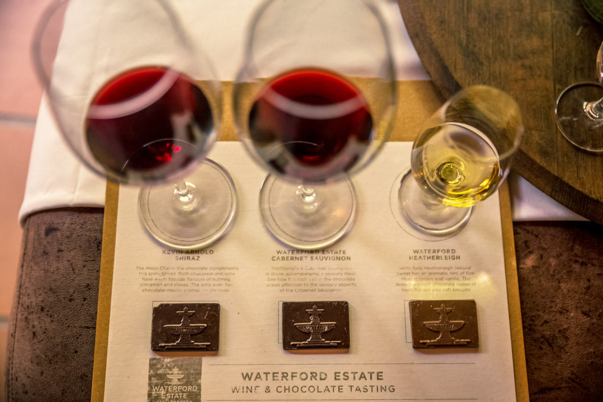 Wine and chocolate tasting, Waterford Estate, South Africa