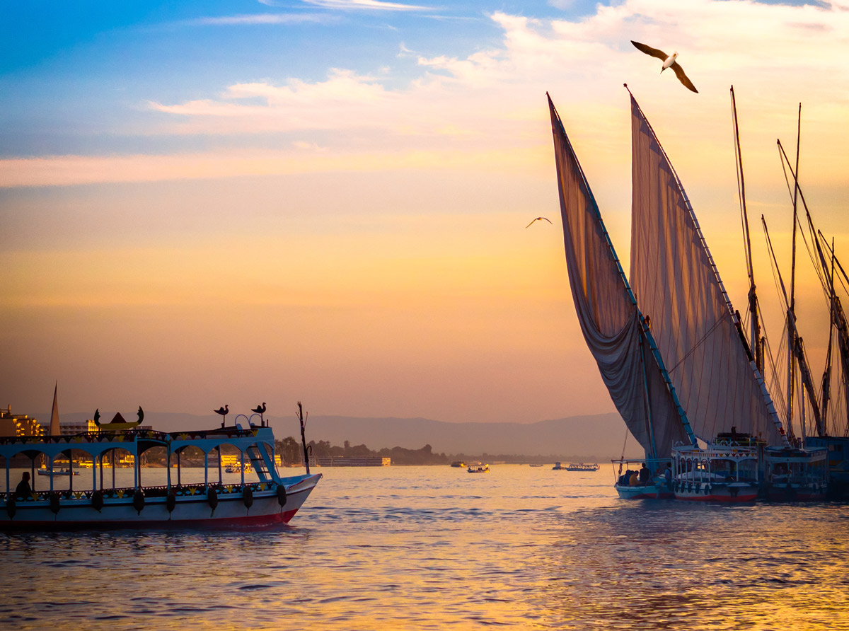 Felucca on the Nile River at sunset, Egypt