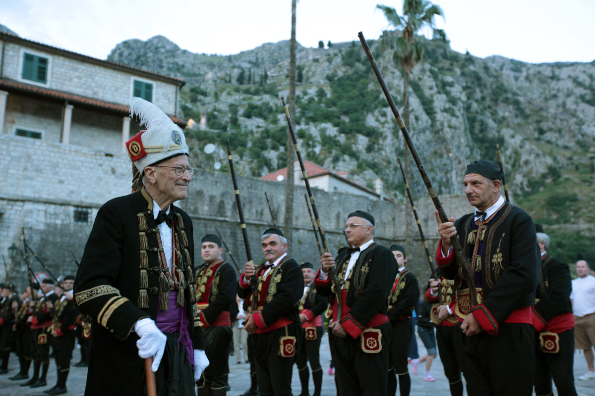 Traditionally dressed locals in Old Town, Podgorica, Montenegro