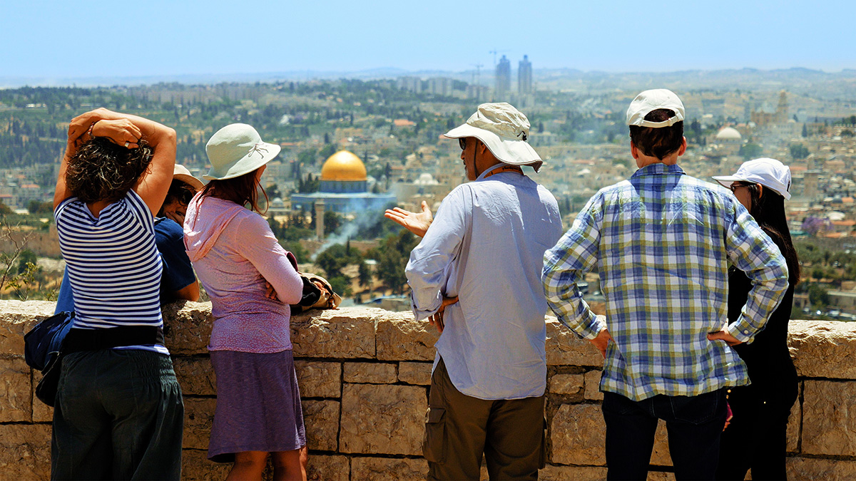 Tourists sightseeing in Israel