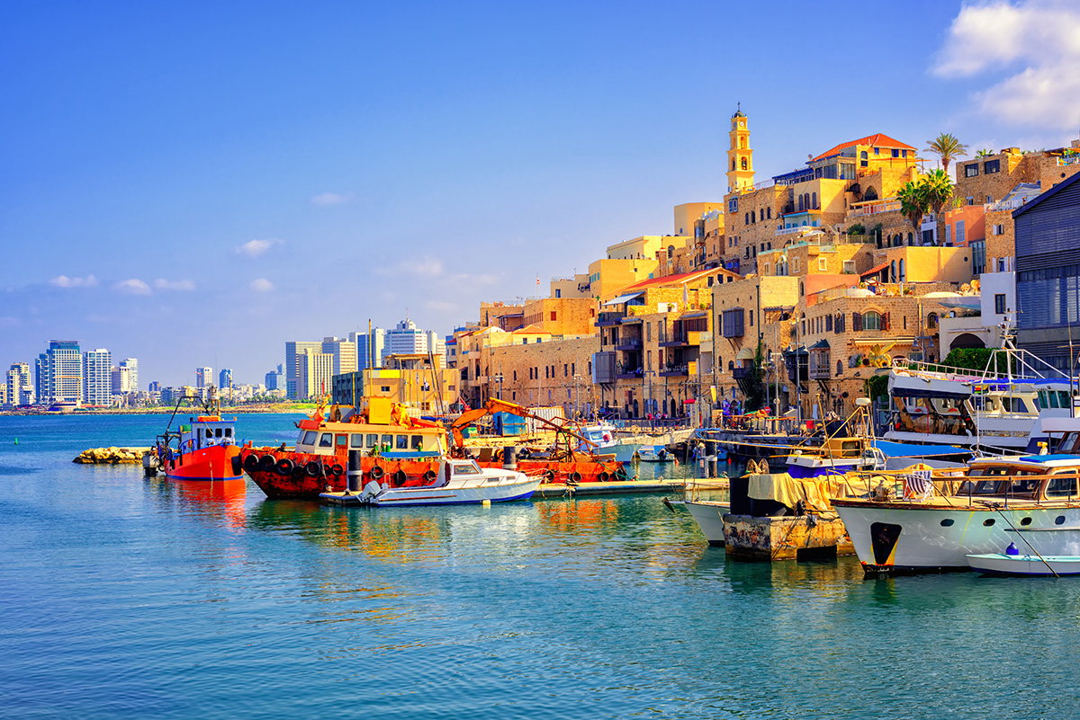 View of harbour with boats in Israel