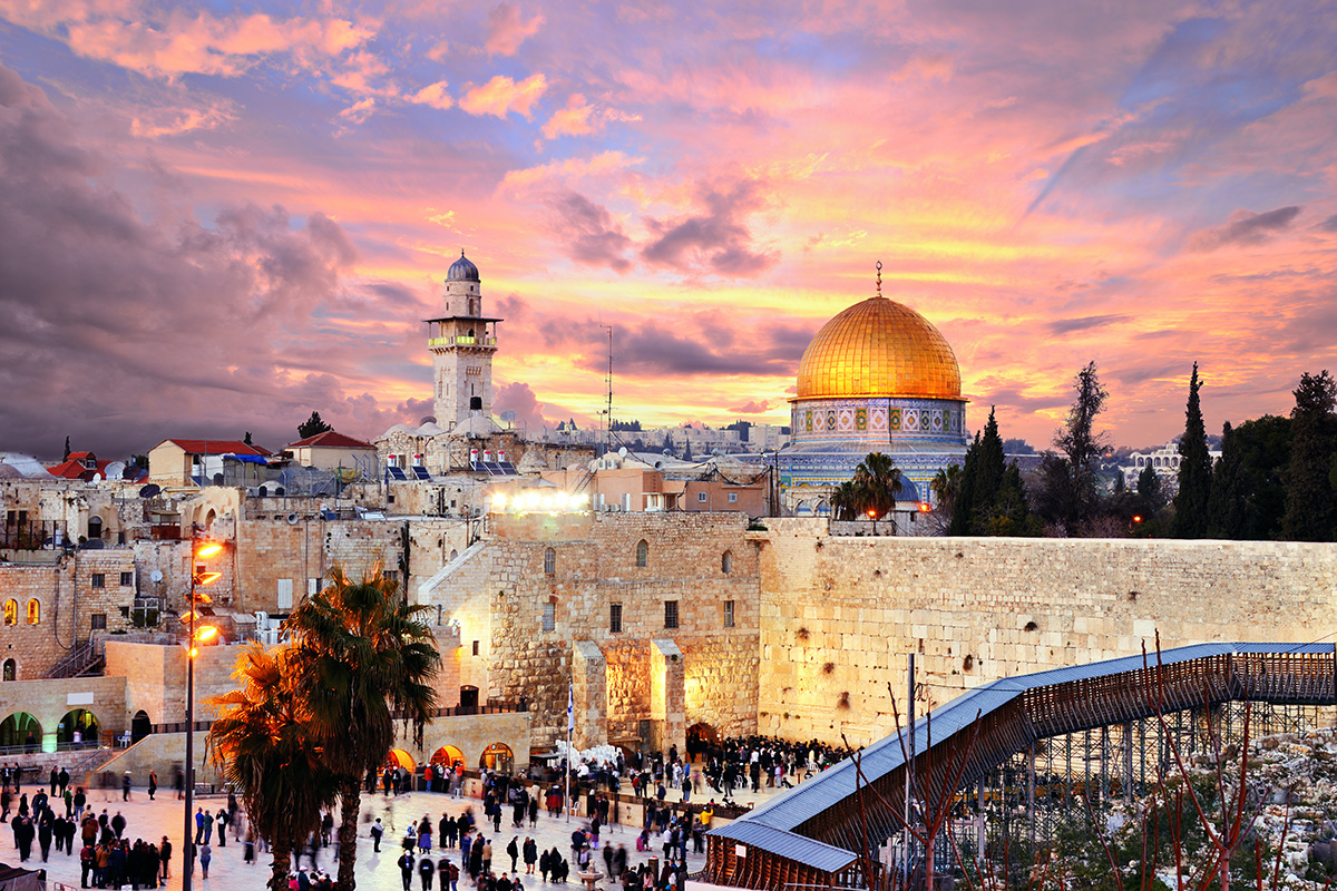 View of Old Town Jerusalem at sunset, Israel