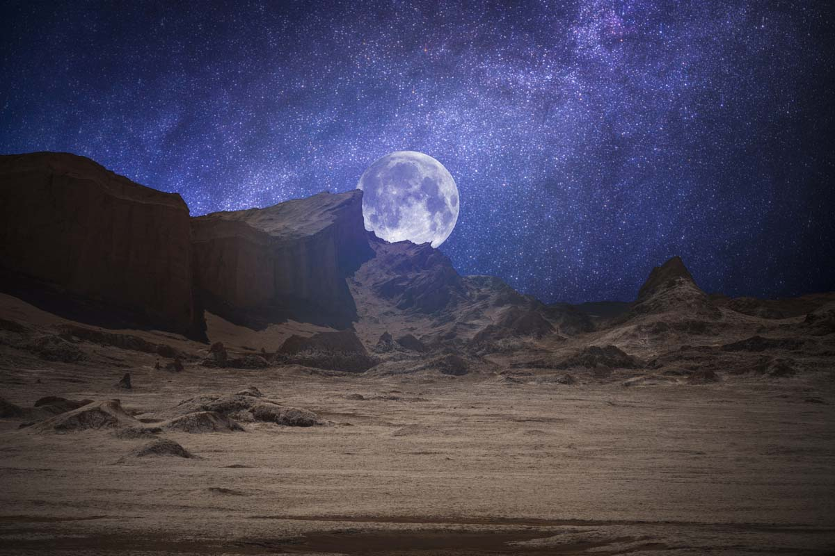 A close up view of the moon in the Atacama desert