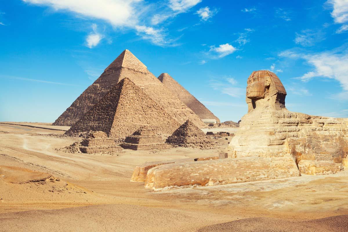 Famous Pyramids of Giza and Sphinx in Egypt