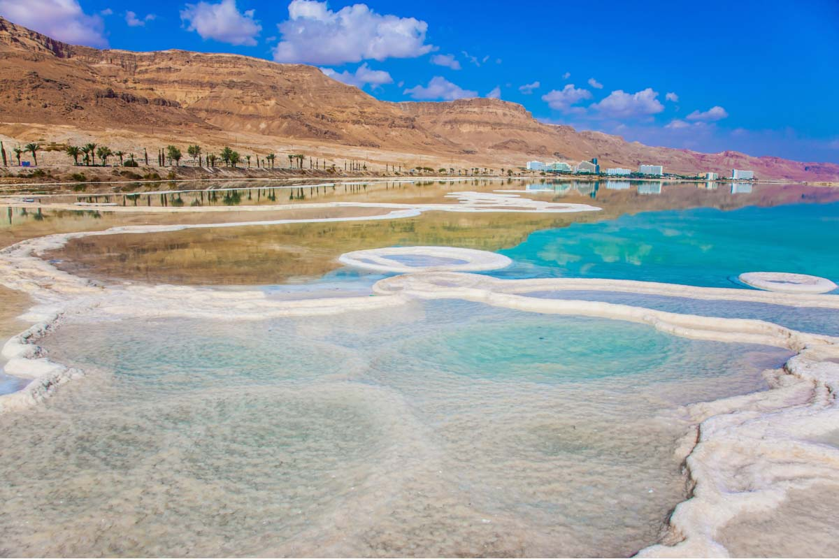 Dead Sea salt shore in Israel