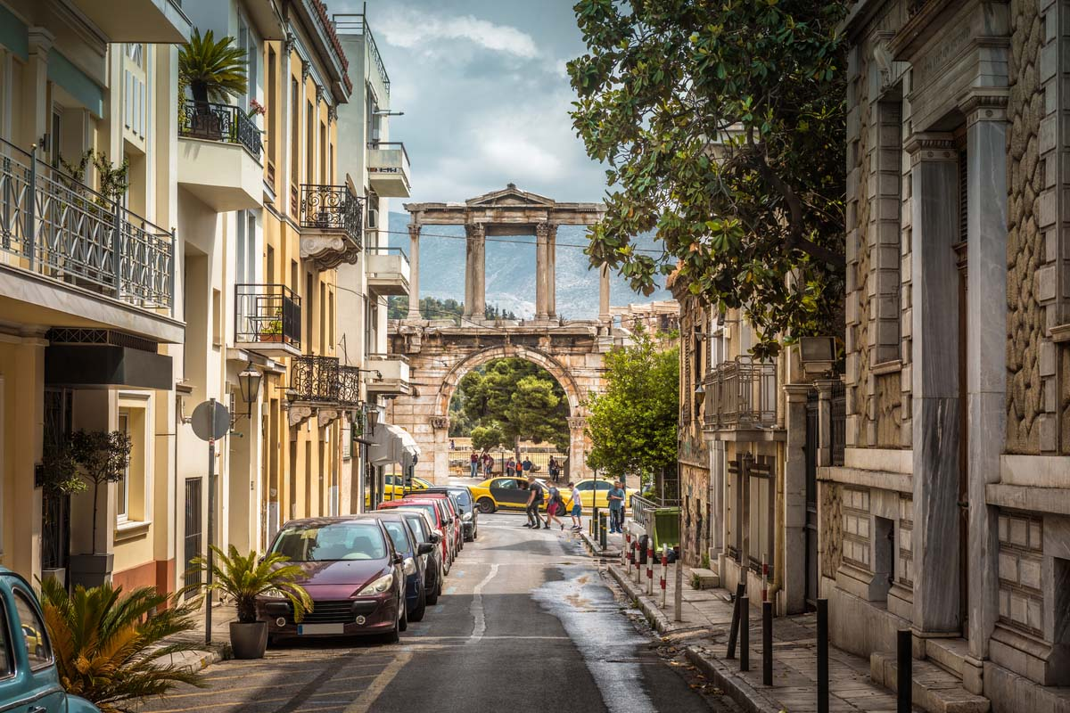 One of the oldest streets in Athens ending at the Arch of Hadrian