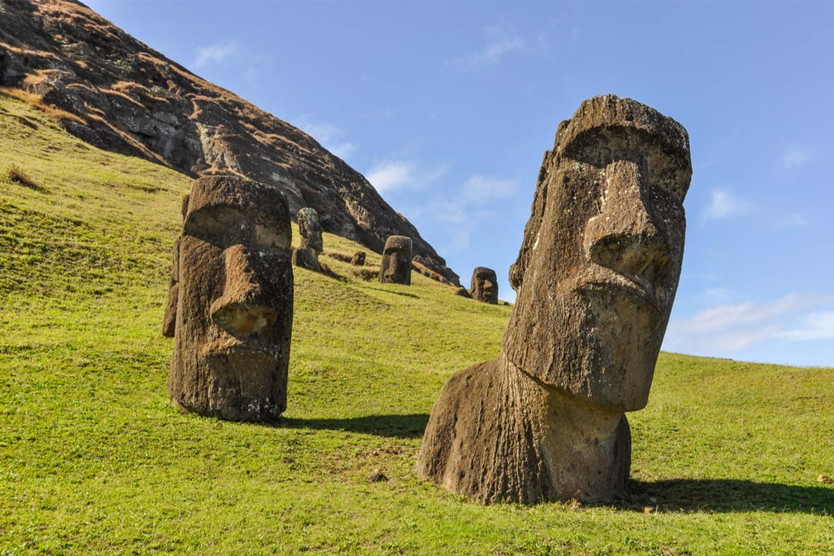 Famous Moai statues at the Rano Raraku volcano on Easter Island