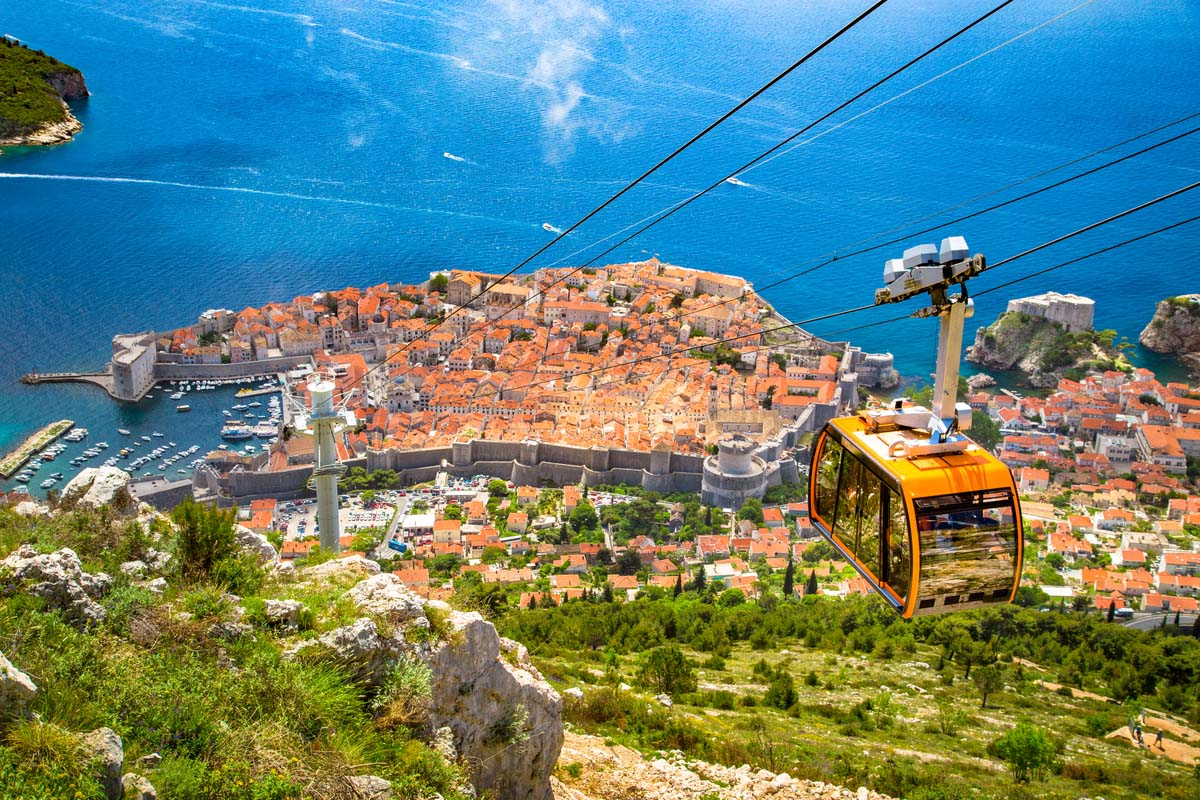 An aerial view of the famous Old Town in Dubrovnik