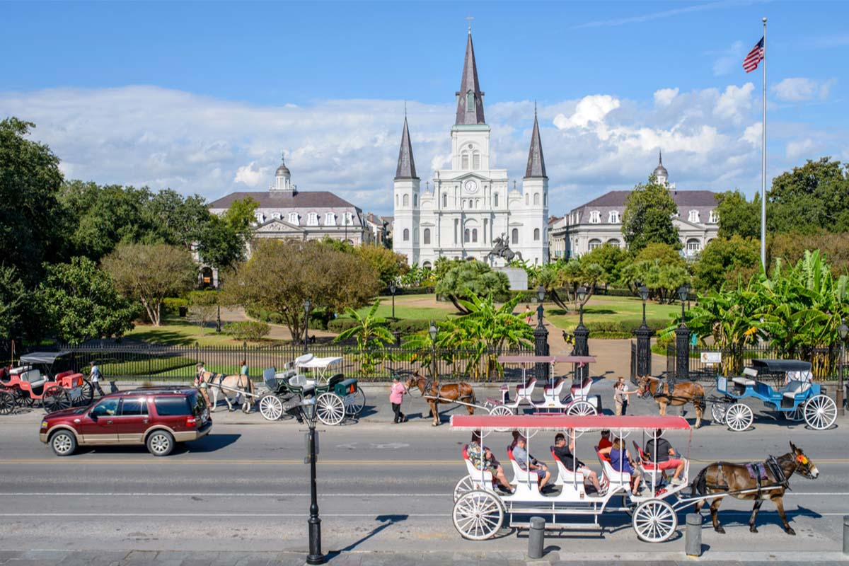 Starting a group tour in Jackson Square in new Orleans