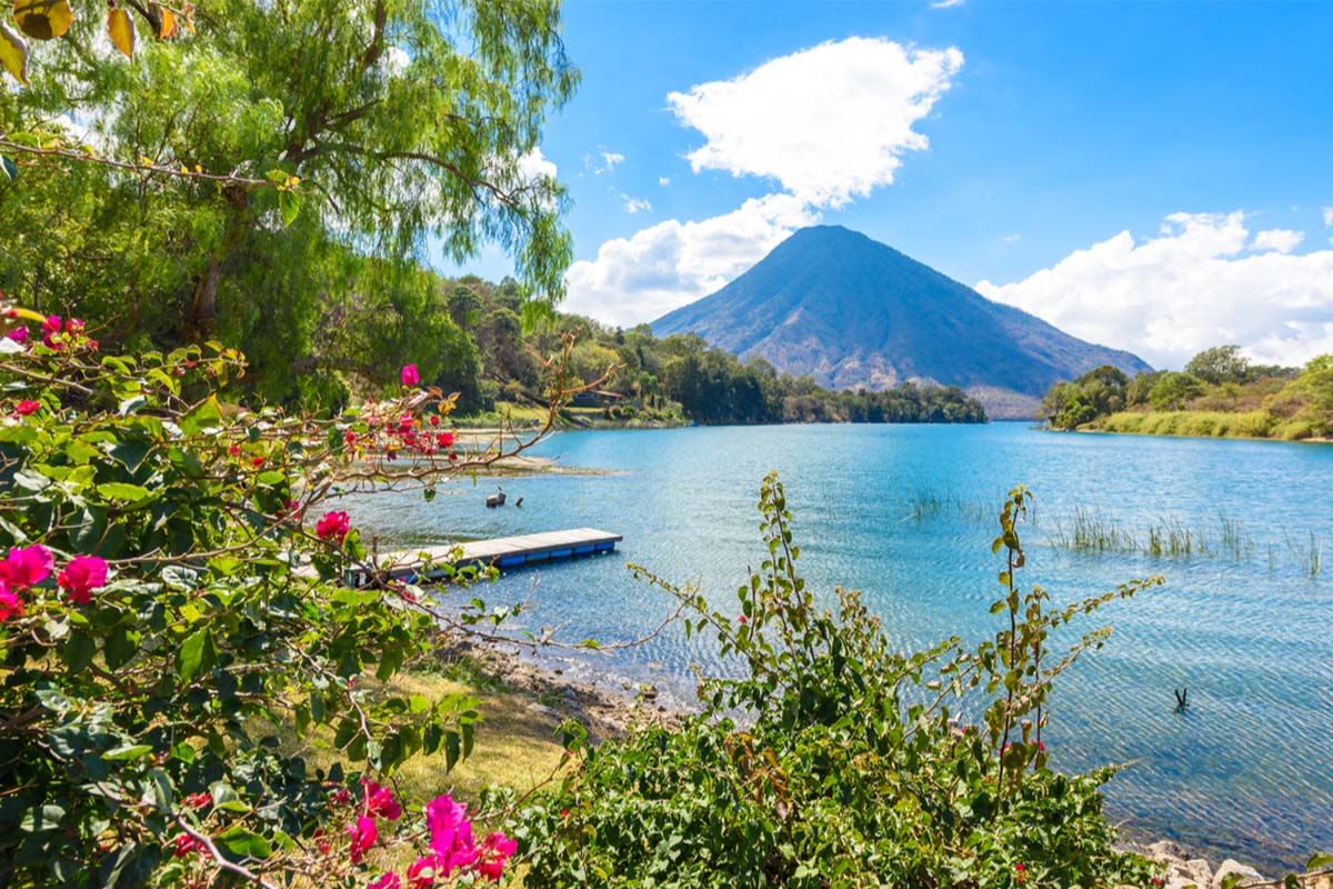 View of San Pedro volcano from Lake Atitlan