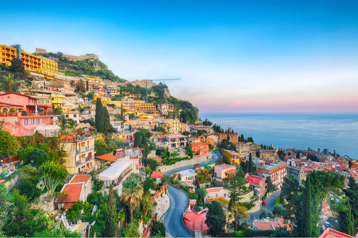 Taormina in all its glory at the Italian sea coast