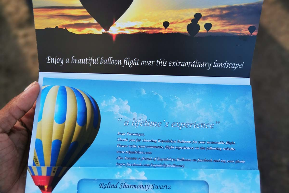 Ralind bought her ticket for the famous Hot air Balloon ride over Turkey