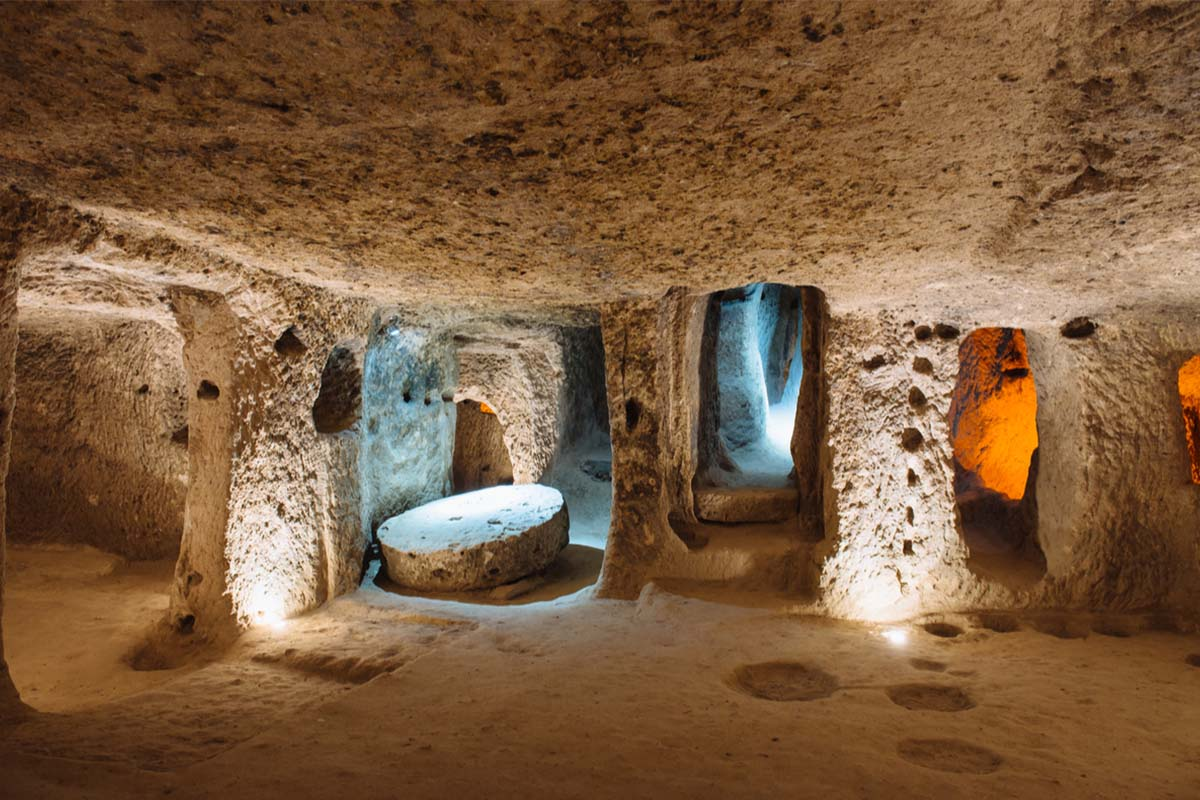 Entrance to the ancient underground city in Cappadocia