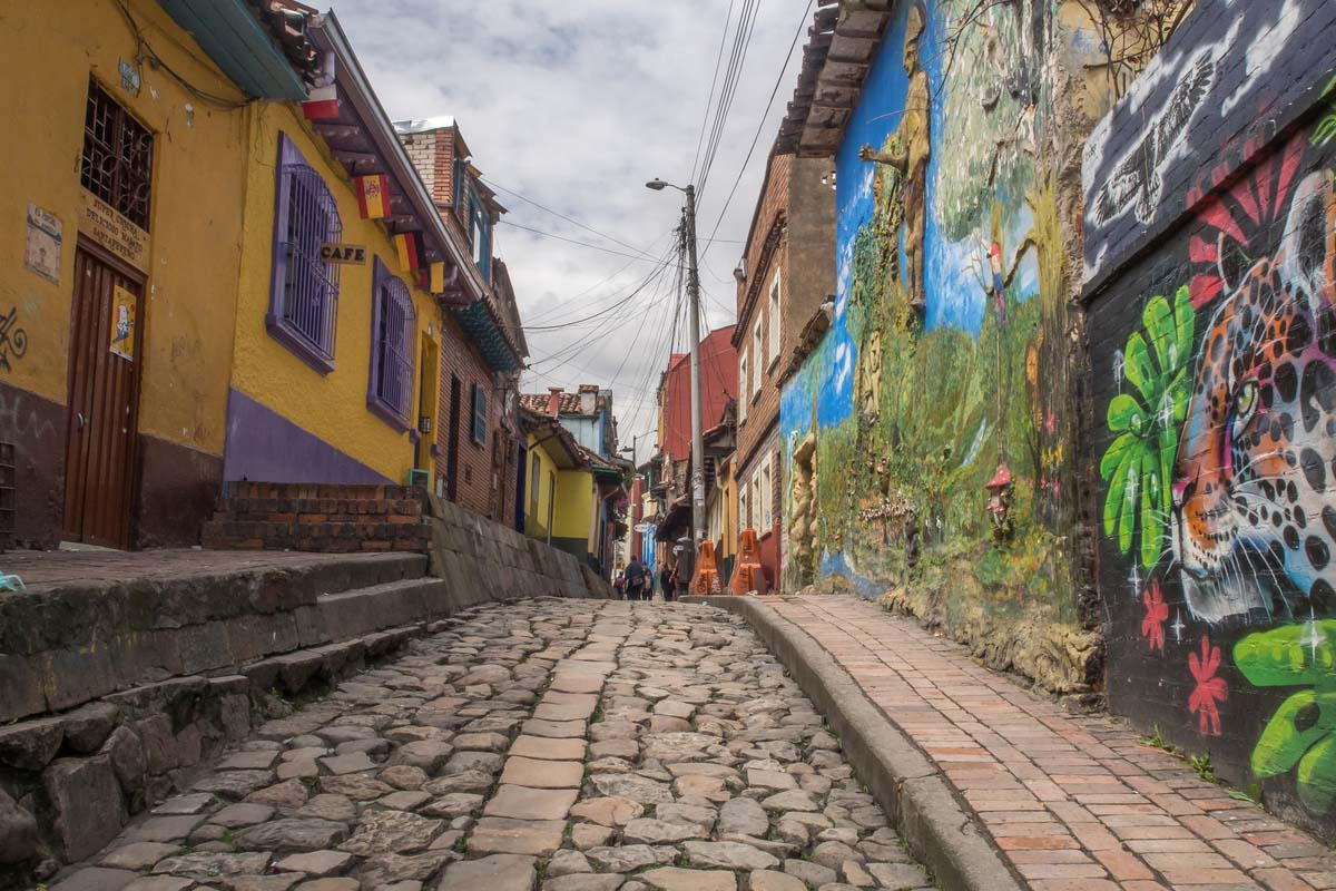The beautiful colored walls and cobblestone streets of Bogota