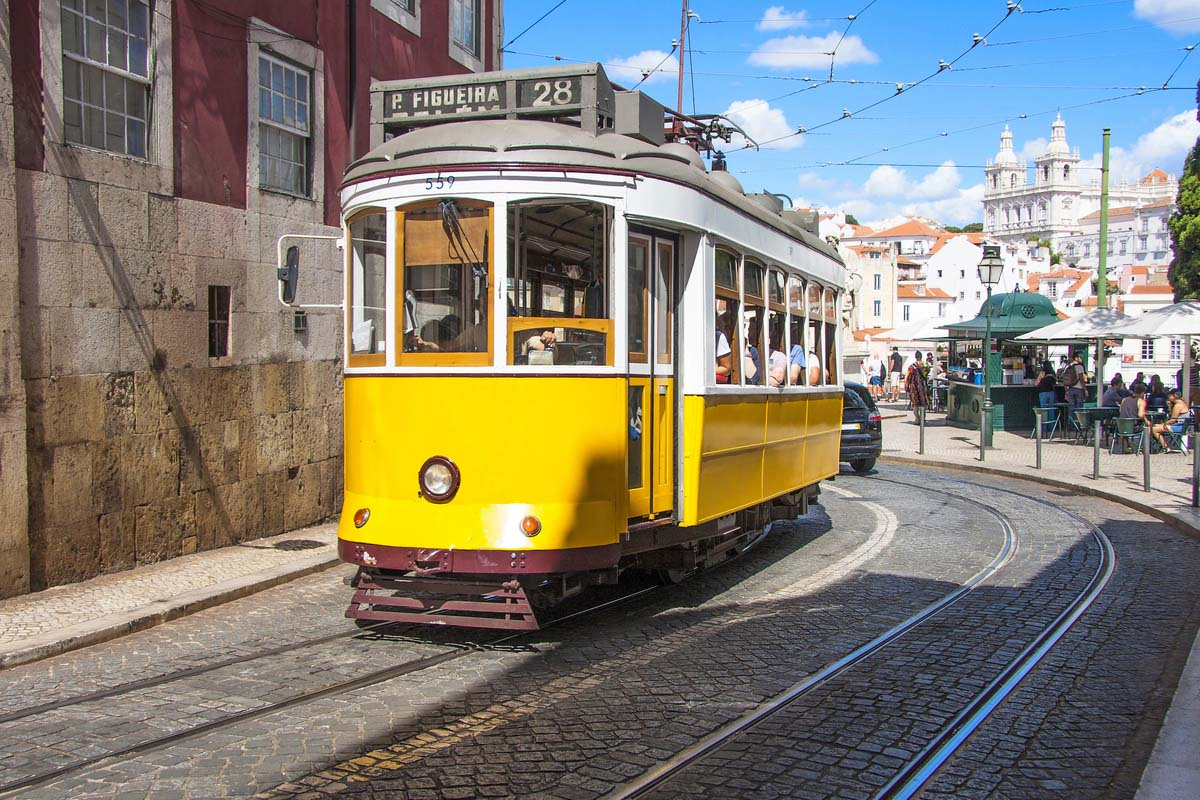 Famous old yellow tram 28