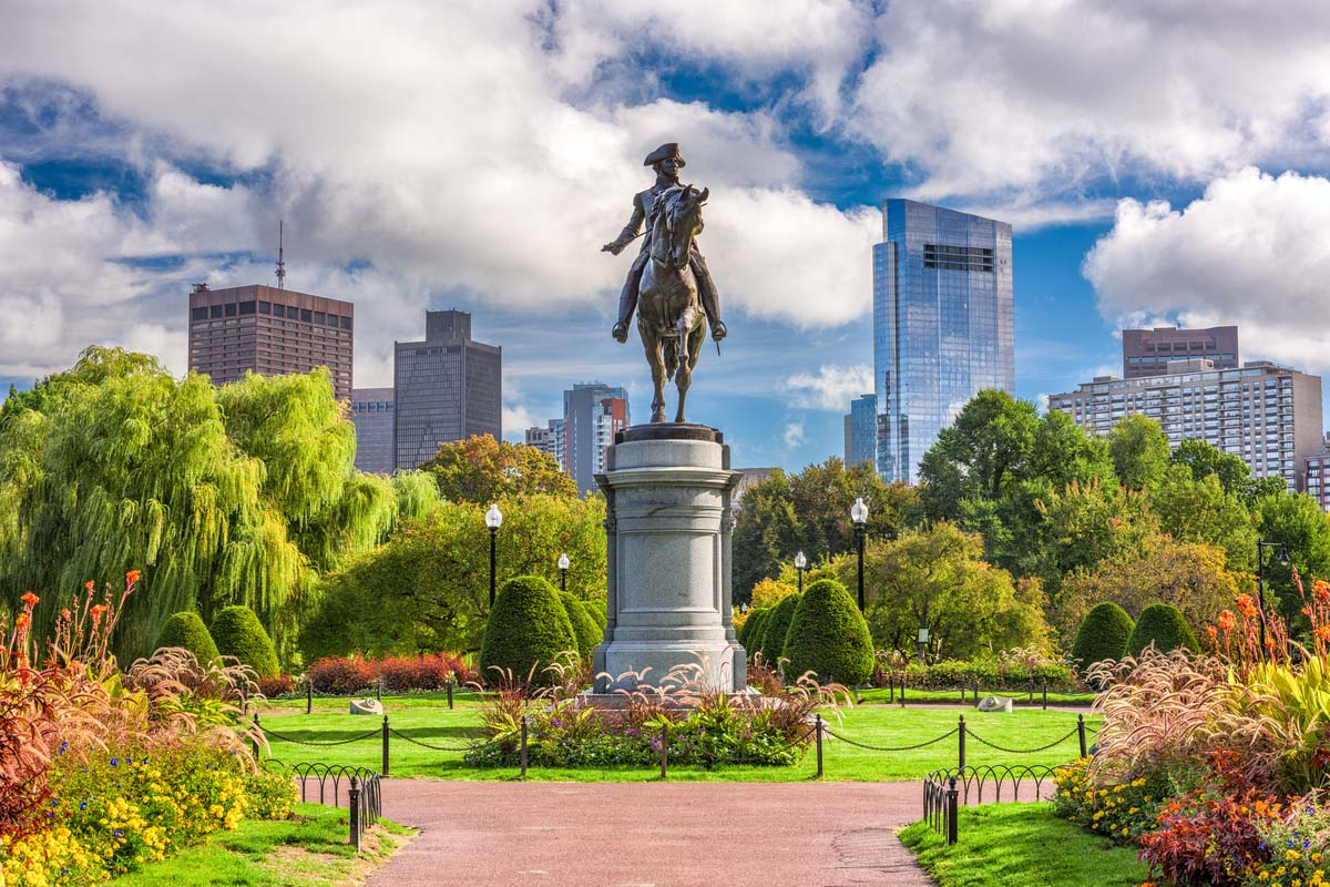 George Washington monument at the public garden