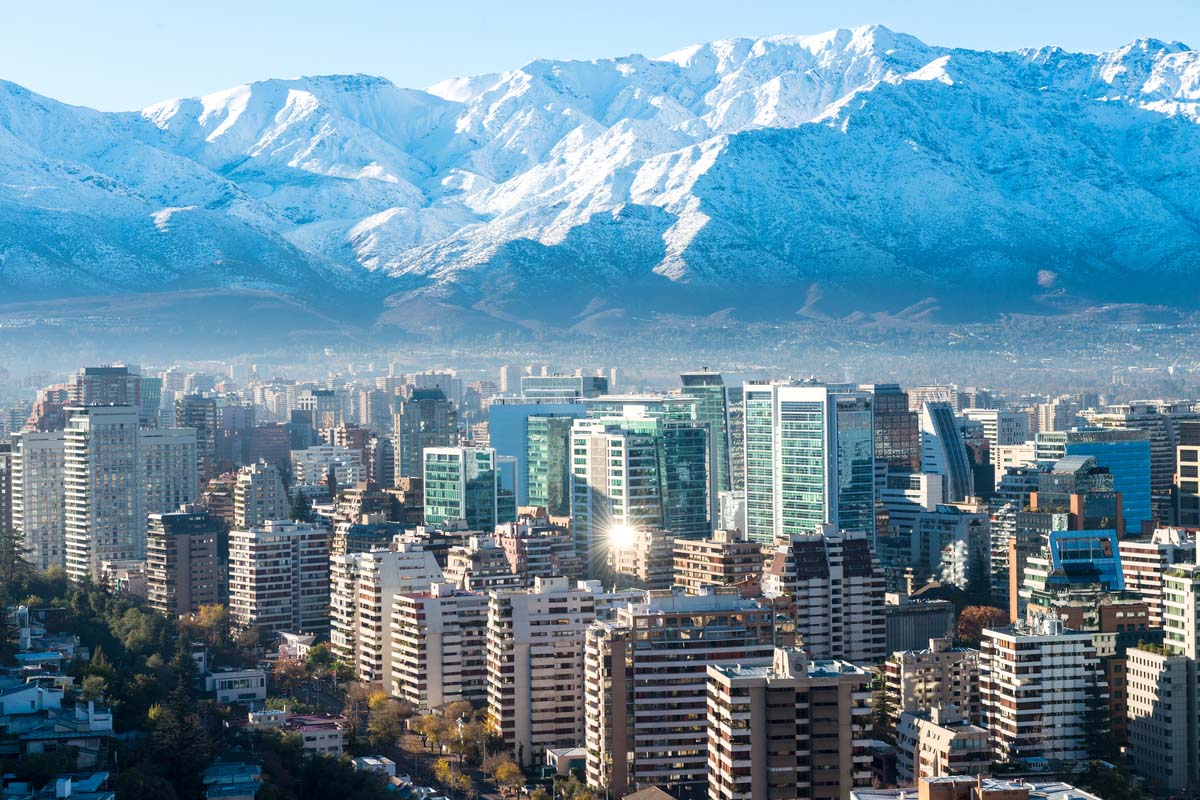 Beautiful white snowy mountain overlooking the Santiago cityscape