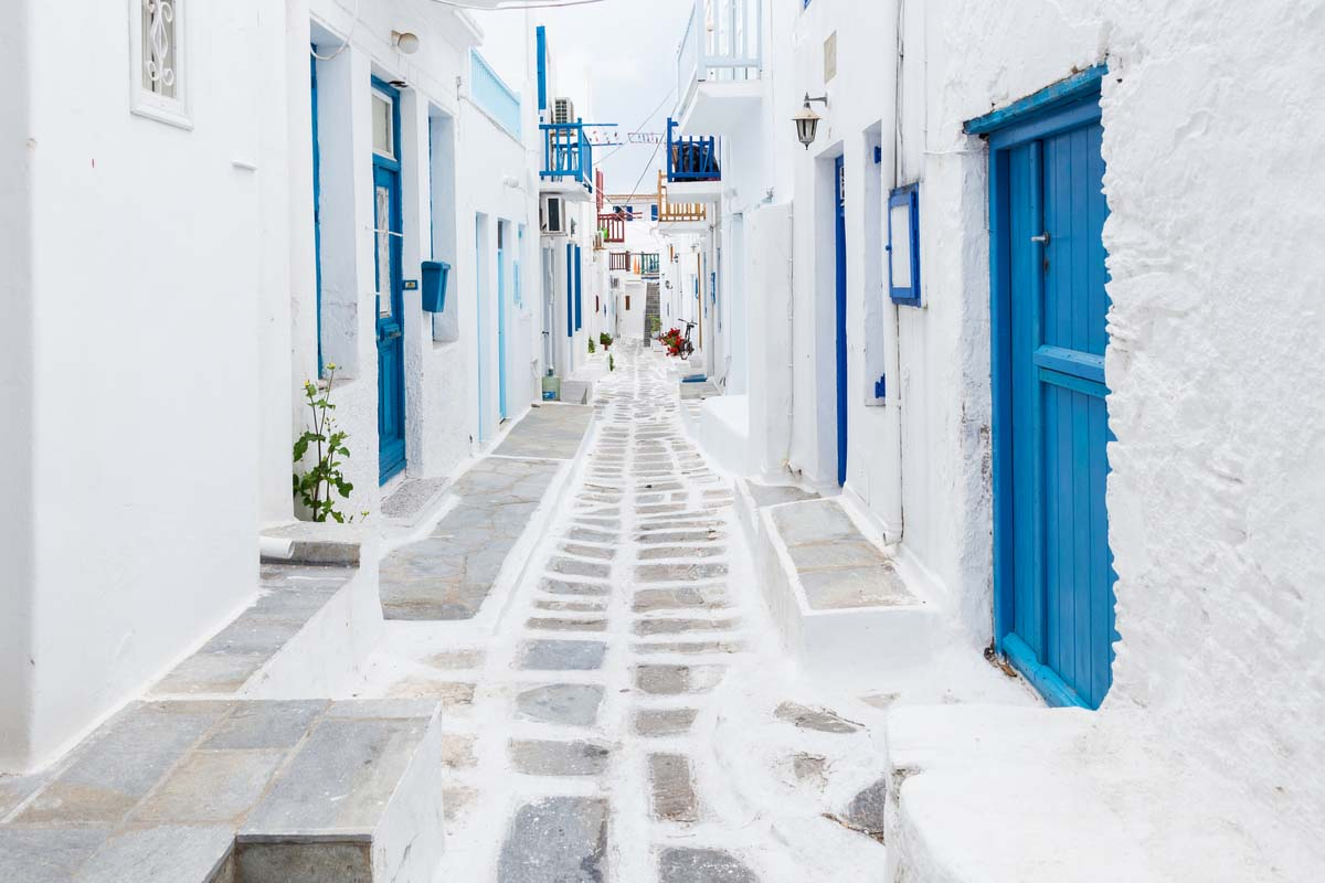 Typical blue and white streets of Mykonos, Greece
